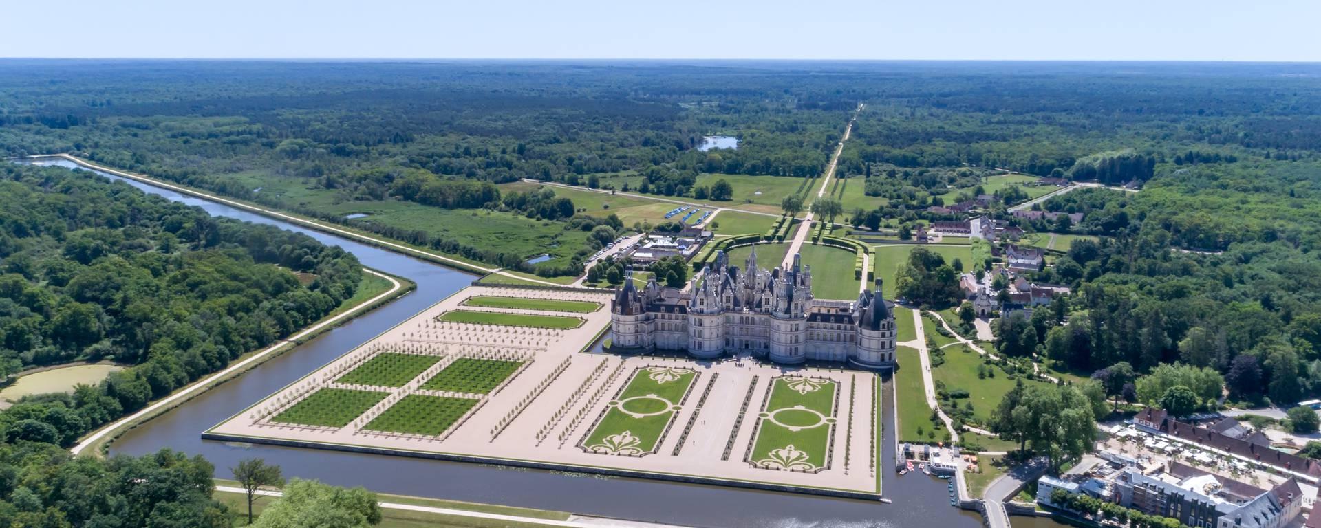 Vista aérea de los jardines de Chambord