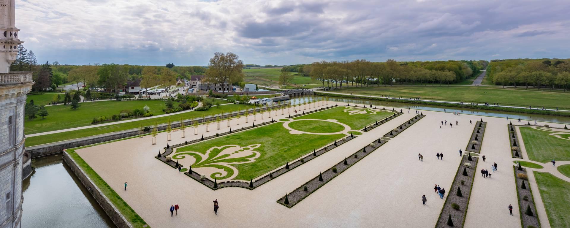 Jardines de Chambord desde el cielo