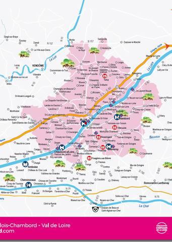 Mapa administrativo de Blois Chambord - Valle del Loira