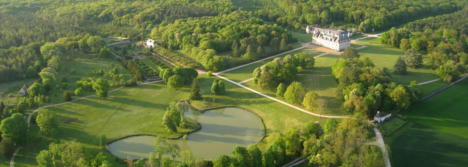 El castillo de Beauregard visto desde el cielo
