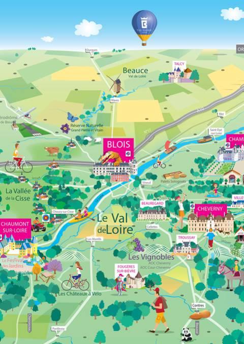 Mapa del territorio de Blois-Chambord - Valle del Loira