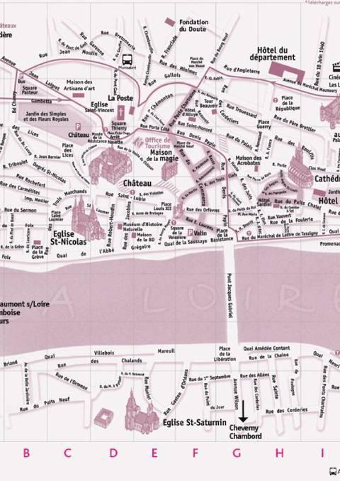 Plan de Blois et des châteaux - Recto/verso A3 - Espagnol